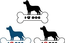 Dog Silhouette Over Bone Collection