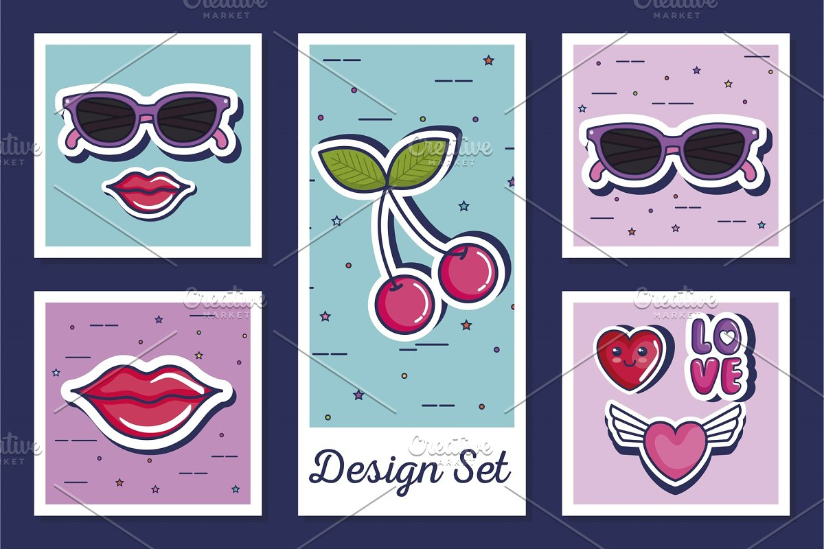 designs set of icons style pop art