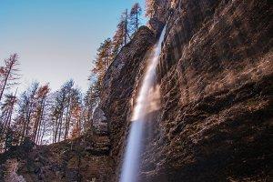 Waterfall in beautiful autumn colors