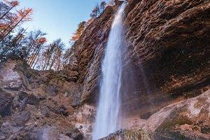 Waterfall Pericnik in beautiful autu
