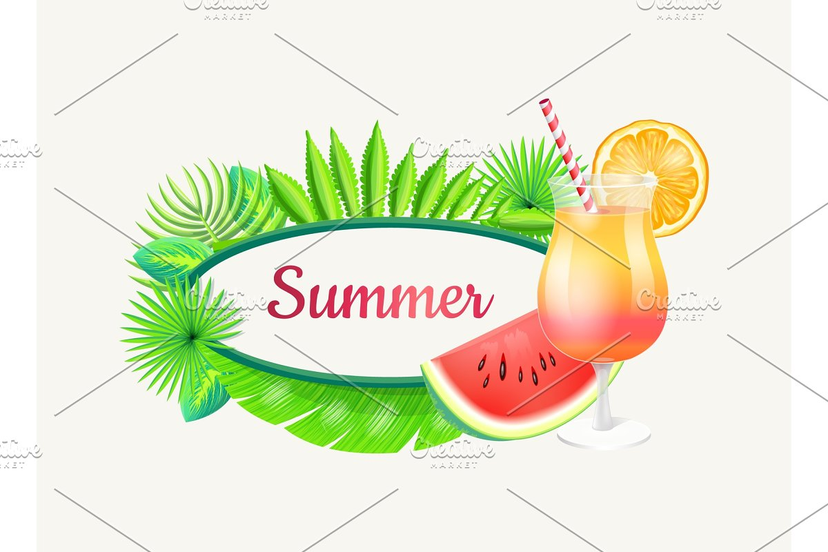 Summer Banner with Frame for Text