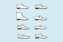 set icons of classical men's shoes