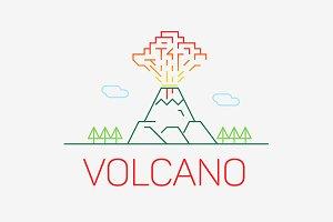 Volcano exploding thin line icon