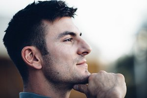 Man pondering life