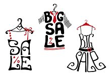 Sale lettering on dress shapes