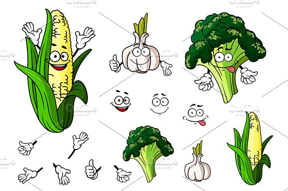 Broccoli, garlic and corn vegetables
