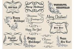 Christmas and New Year calligraphic