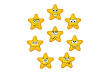 Yellow star icons with different emo