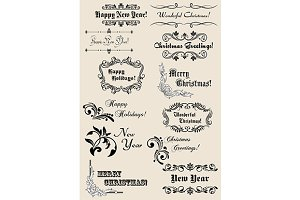Winter holidays calligraphic element