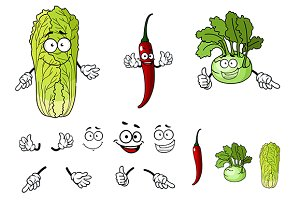 Pepper, radish and cabbage cartoon v