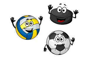 Hockey puck, volleyball and soccer b