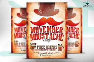 Movember Mustache Party Flyer PSD