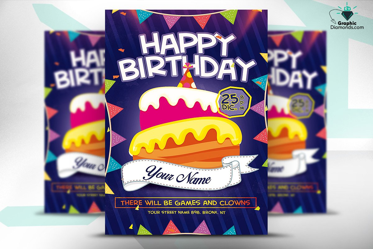 Kids Happy Birthday Flyer Psd Flyer Templates Creative Market