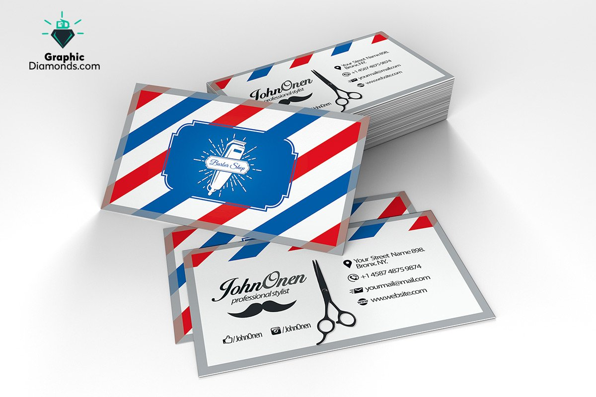 Barber shop business card flyer templates creative market fbccfo Choice Image
