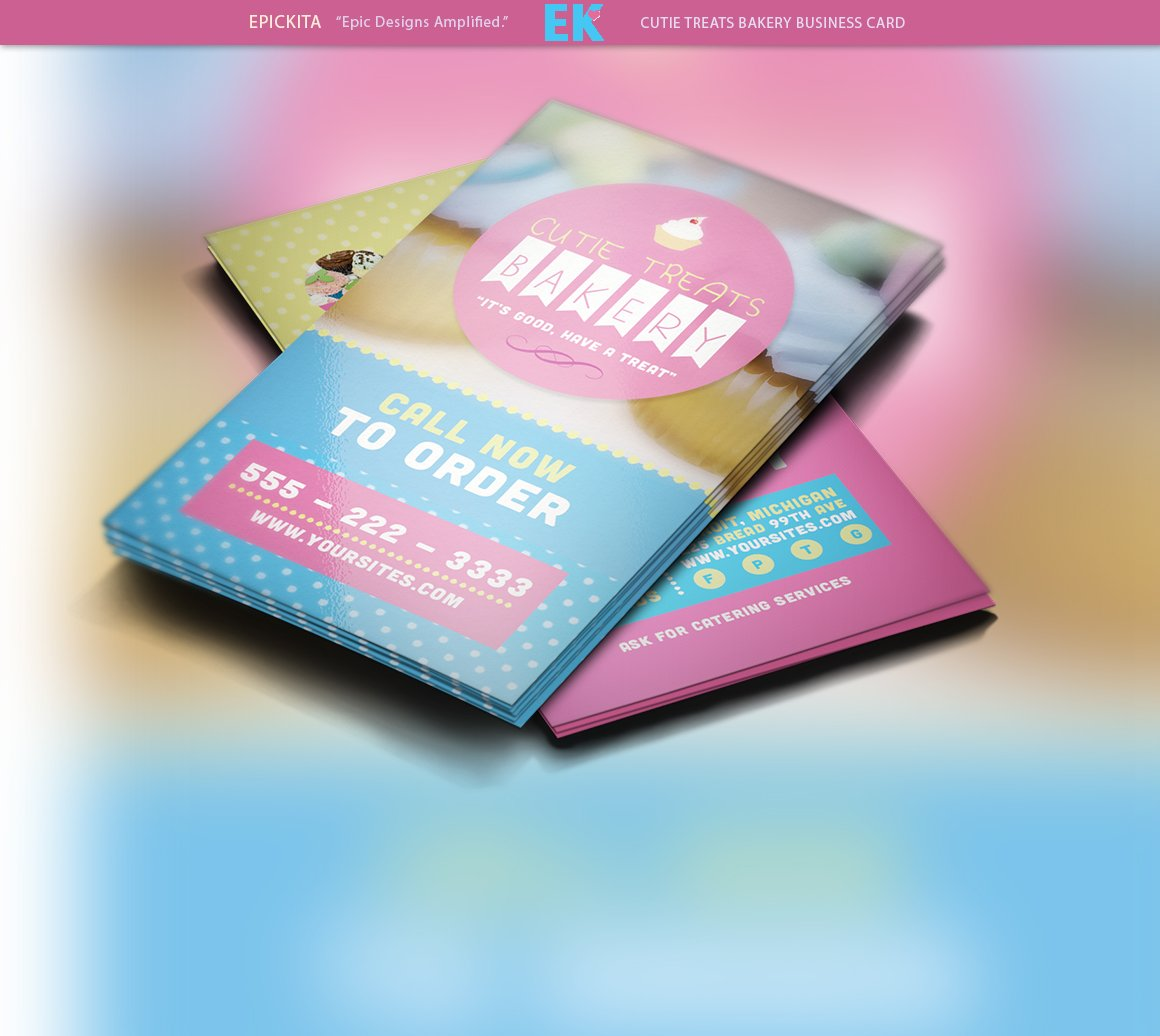 cutie treats bakery business card business card templates creative market - Bakery Business Cards