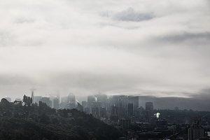 Seattle Skyline on a Foggy Day