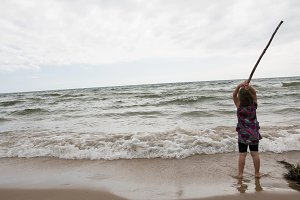 Girl vs Lake Michigan