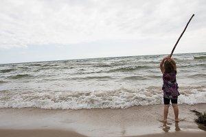 Girl vs Lake Michigan