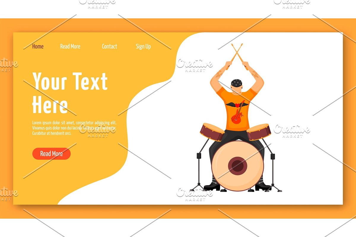Drummer landing page template