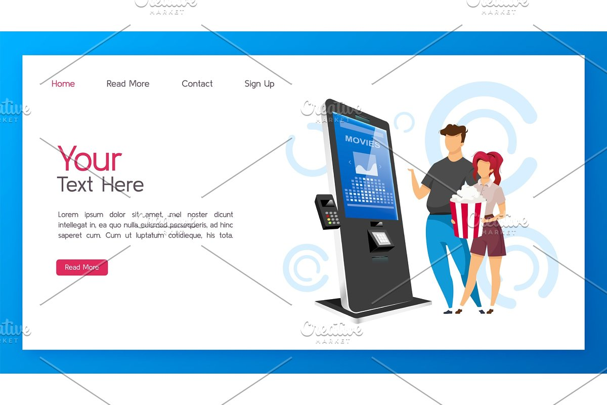 Tickets kiosk landing page template