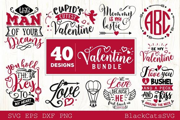 Valentines Day Svg Bundle 40 Designs Pre Designed Illustrator Graphics Creative Market
