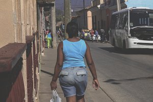 Walking the street in Cuba