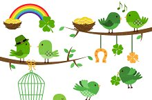 St Patrick's Birds Clipart & Vectors