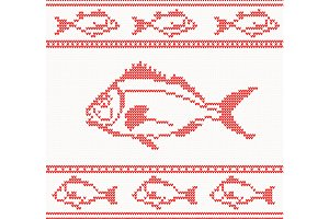 Knitted seamless pattern with fish