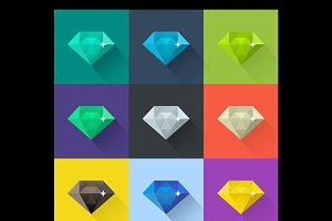 Diamond vector illustration set