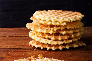 waffles on a dark wooden background