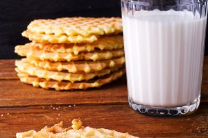 waffles on a plate and glass of milk