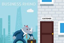 Business rhino. Angry businessman