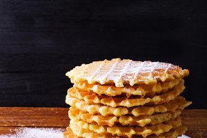 waffles with powdered sugar.