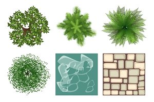 Landscape design top view elements