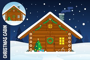 Flat Christmas Cabin Illustration