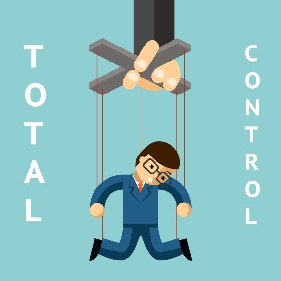 Total control. Businessman puppet - Graphics