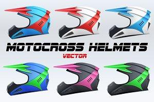 Set of Classic Motocross Helmets