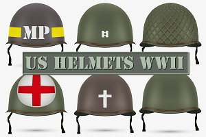 US Military Helmets M1 of WWII