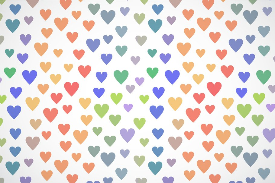 Colorful simple cute hearts pattern