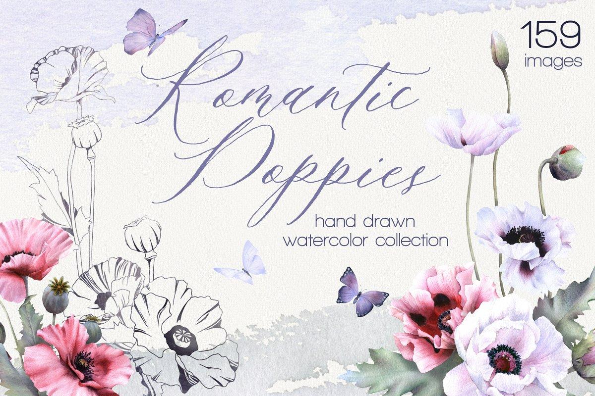Romantic Poppies watercolor set