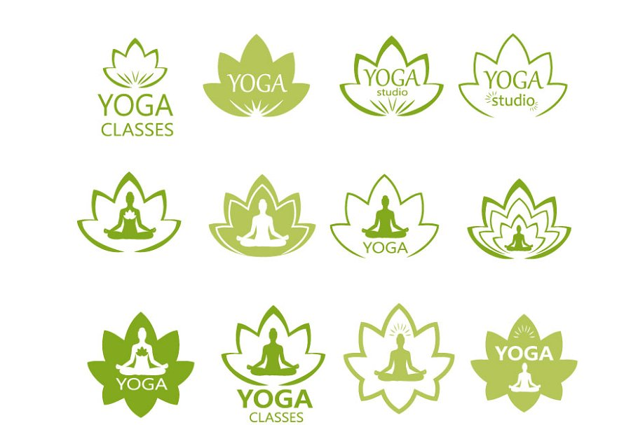 Yoga Logo Label Badges Vector Pre Designed Vector Graphics Creative Market