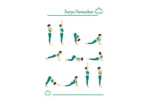 set of yoga postures sun salutation  customdesigned
