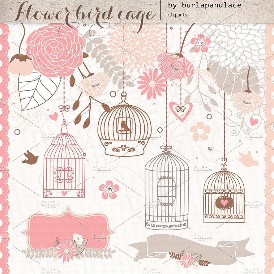 Flower Bird Cage Illustrations Creative Market