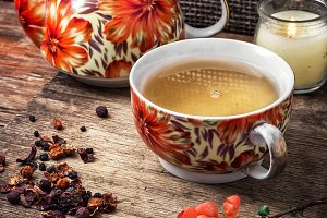 cup of fragrant tea for herbs
