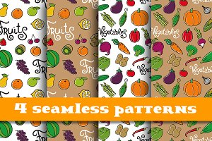 4  patterns with vegetables & fruits