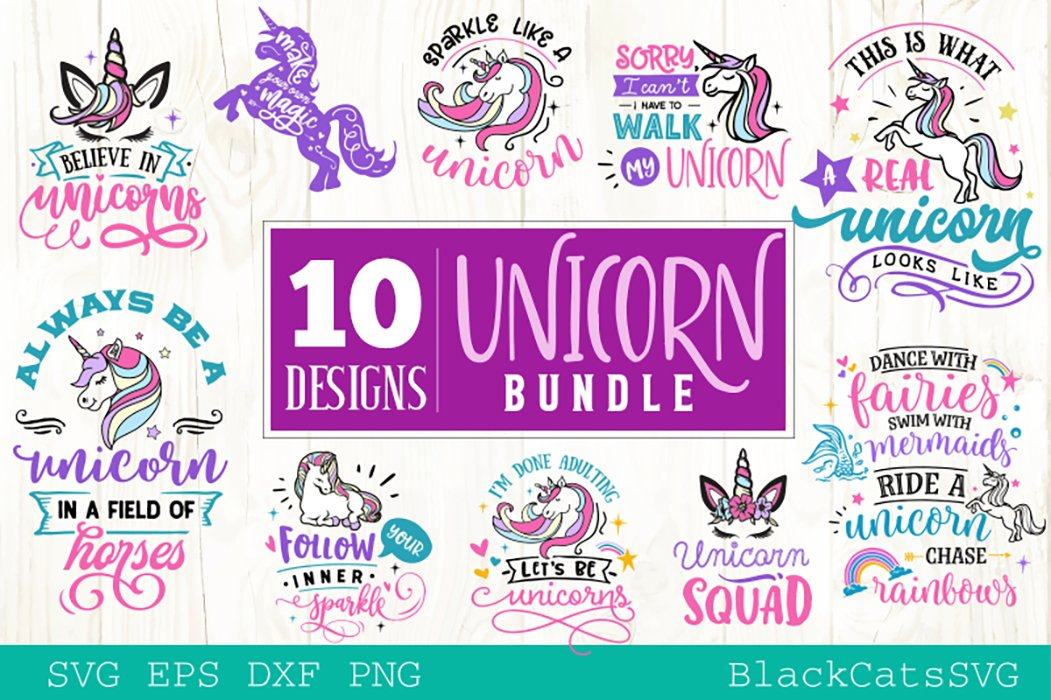 Unicorn Svg Bundle 10 Designs Pre Designed Illustrator Graphics Creative Market