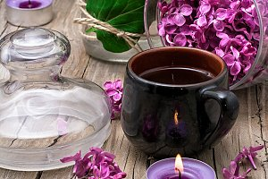 fragrant spring flower tea on the ba