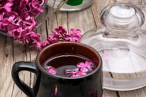 fragrant spring flower tea on the ba