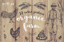 "Retro ""organic farm"" posters"