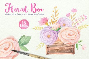 Watercolor Floral Box